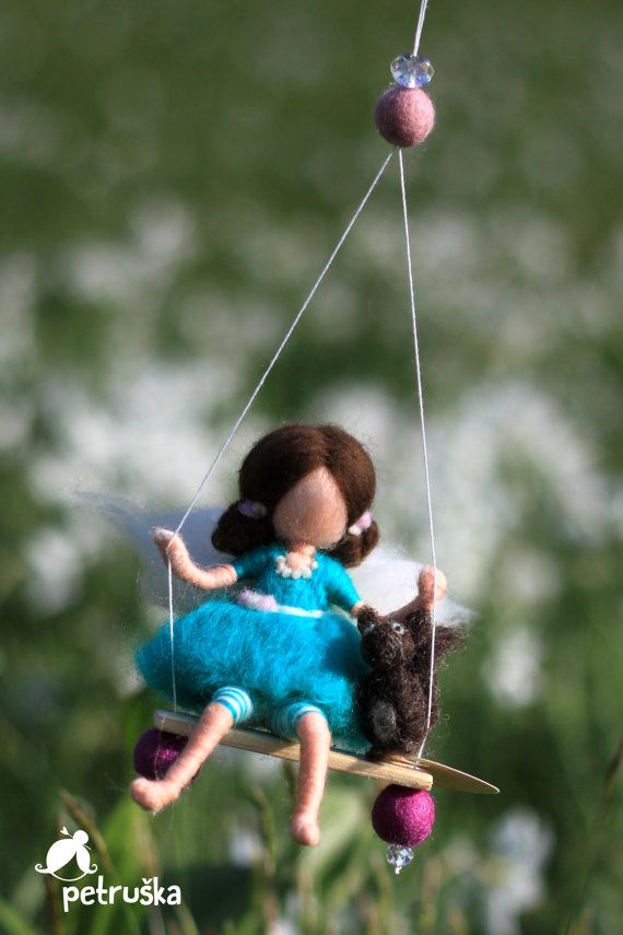 Fairy in blue with a squirrel, wool felt, needle felted waldorf inspired fairy, made to order, mobile