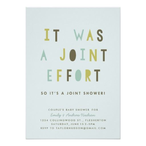 Joint Effort Couple's Baby Shower Invitation
