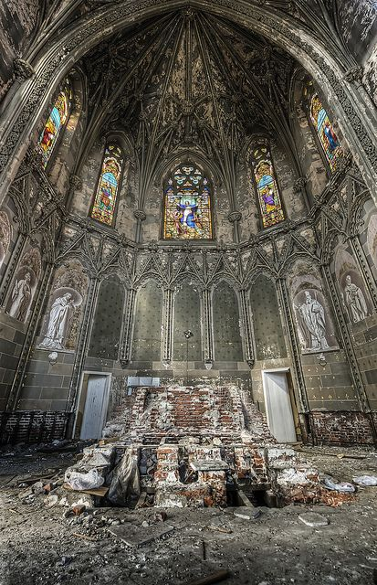 Heaven holds the faithful departed Explore#7 by odins_raven, via Flickr  Altar in abandoned church