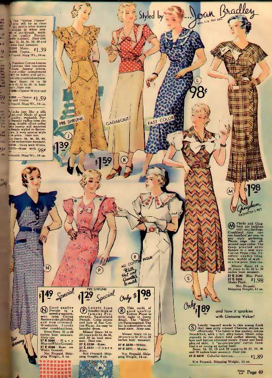 30s blurred pink yellow brown white Sears & Roebuck Catalog - Spring 1934 (cotton dresses)