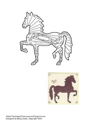 Strutting Horse Iris Folding Pattern on Craftsuprint designed by Margaret Jones - Make up this pattern on a card for a horse lover. You can make it in any colours you like - what about an all-white Lippizaner Stallion! - Now available for download!