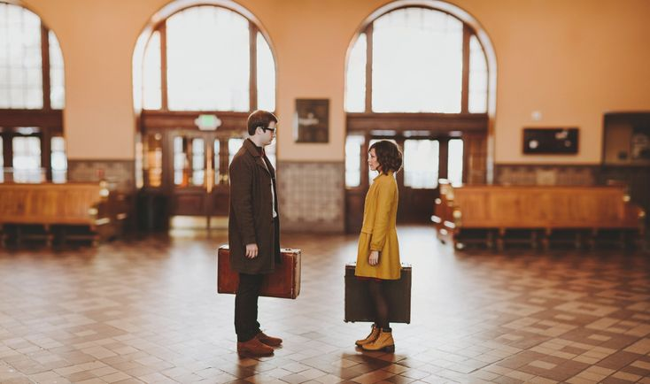 wes anderson inspired engagement session