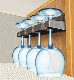 RV - Wine Glass Holders - made from rod portion of a fishing pole rack