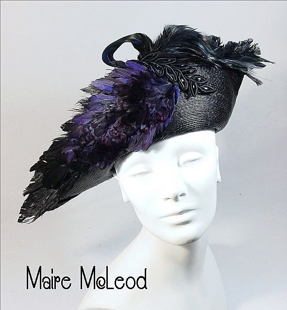 c1900 Edwardian Bicorne Style Hat *Lavish Game Bird Feathers