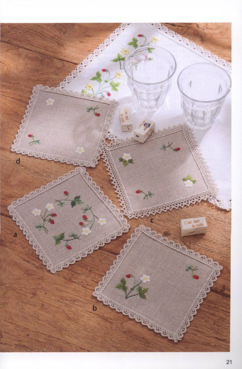 Embroidered Wild Strawberry Coasters