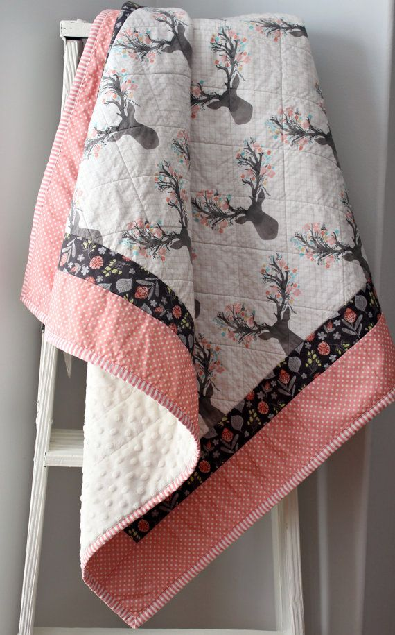 Baby Quilts for Girls Deer Nursery Bedding by LittlebCottonShoppe