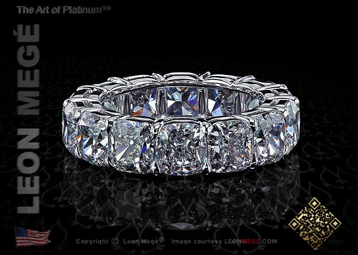 Eternity Wedding Band with Cushion Diamonds by Leon Megé. Search for r6188 in catalog.