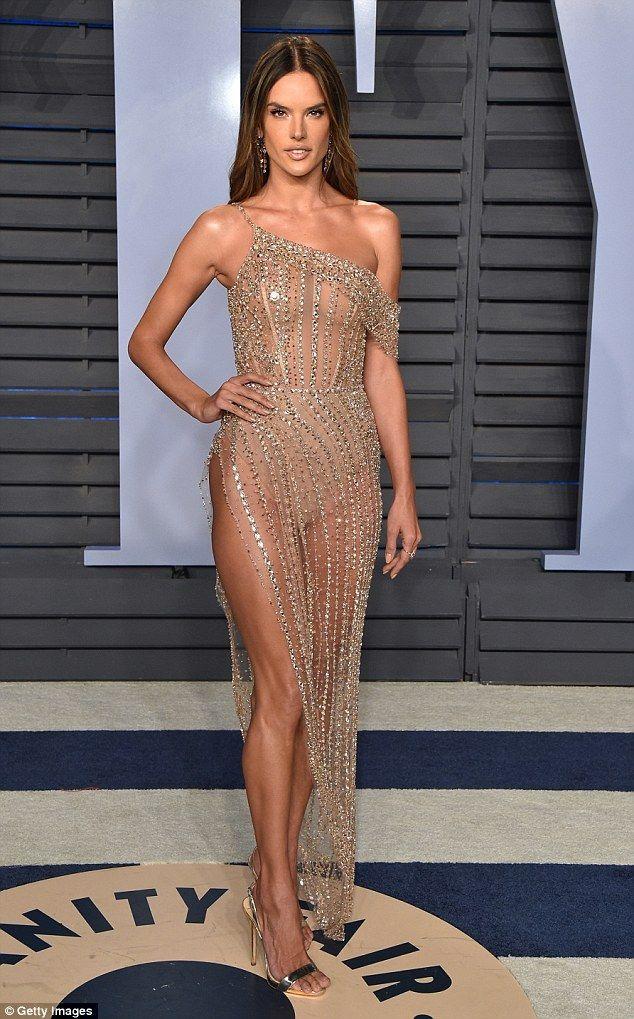 531eff3660248 Braless Alessandra Ambrosio sizzles at Vanity Fair Oscar Party ...