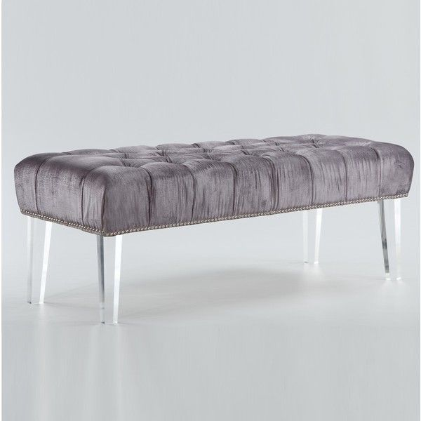 Stella Grey Velvet Tufted Acrylic Bed End Bench ($451) ❤ liked on