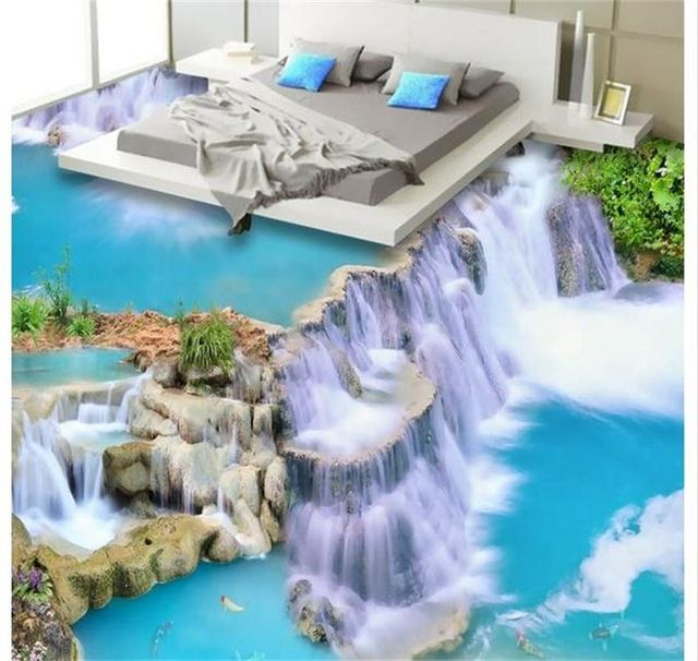 3D PVC Suelo Personalizado Papel Etiqueta de la Pared HD Cascada Pinturas Murales de Pared 3D Wallpaper Dormitorio Piso Del Baño de Agua