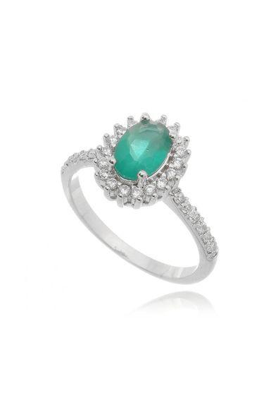 anel-princesa-em-rodio-branco-zirconias-pedra-esmeralda-leitosa ... cc08f05f8c