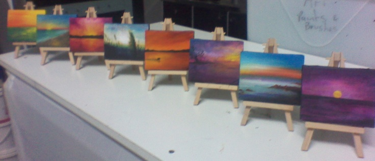 Miniatures  Collection of Oils on miniature canvas  with own easels :)