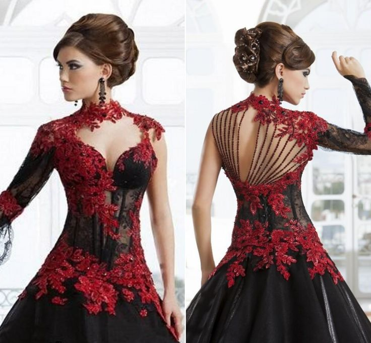 backless wedding dress black and red