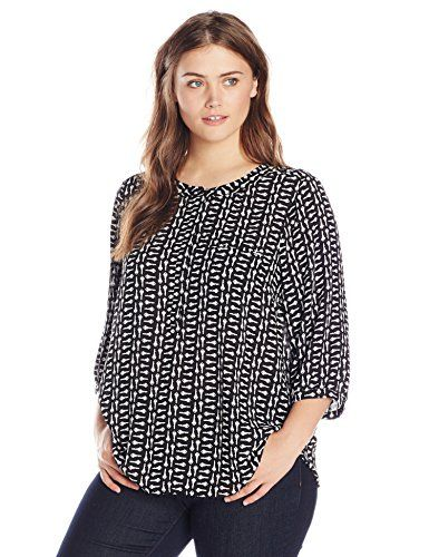 NYDJ Women's Plus-Size 3/4 Sleeve Printed Pleat Back Blouse In Enchanted Tutu