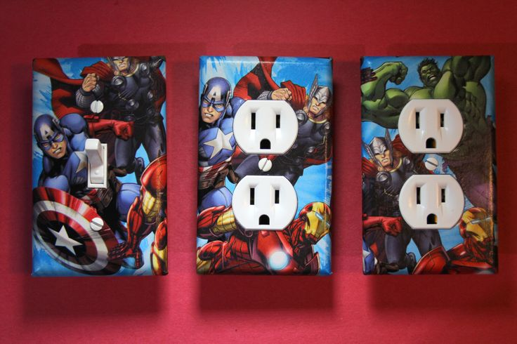 Avengers Captain America Thor Iron Man Hulk 3 piece Light Switch Plate and Socket Cover set boys childs superhero room home decor Marvel by ComicRecycled on Etsy https://www.etsy.com/listing/205109410/avengers-captain-america-thor-iron-man