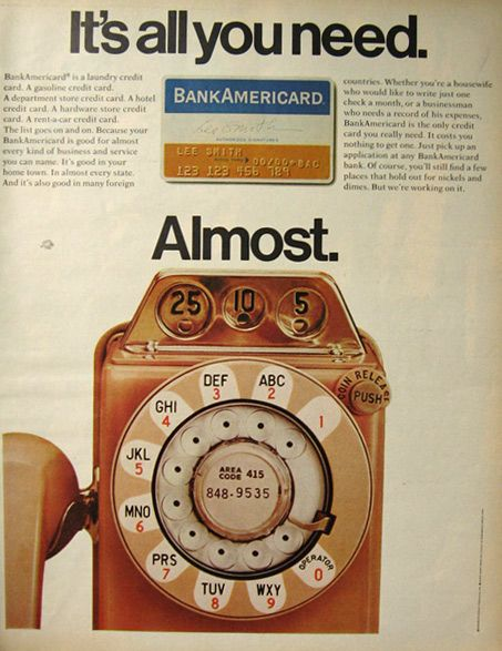 1970 Bank Americard Charge Card Ad ~ Vintage Payphone