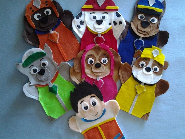 Paw Patrol felt hand Puppets In this listing you get All 7 Puppets Ryder Marshall the Fire dog Rubble the Bull Dog skate boarder Rocky the mix breed recycling grey dog Zuma the chocolate lab water dog Chase the German Shepard police dog Skye The Cockapoo the flying pup Can be sold separately Having a Paw...