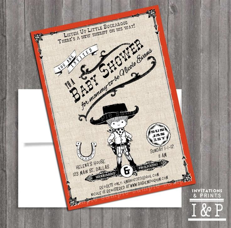 Vintage Western Baby Poster themed-  western baby girl or boy Shower or  Birthday invite via Etsy.