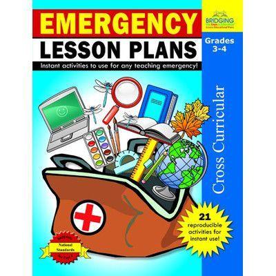 Milliken & Lorenz Educational Press Emergency Lesson Plans Grade 3 - 4 Book