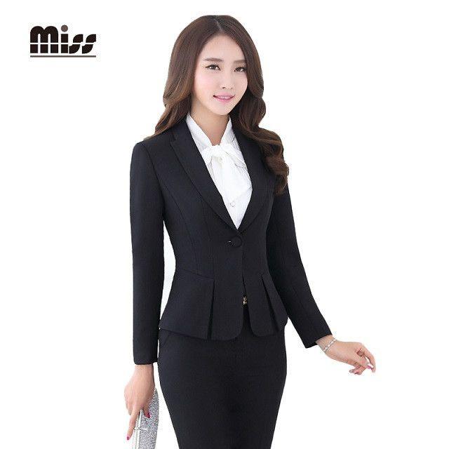 MISS 2016 Spring Women Formal Skirt Suits Work Ladies Office Uniform Slim Business Blazer Suit With Skirt Red Plus SizeT5B026