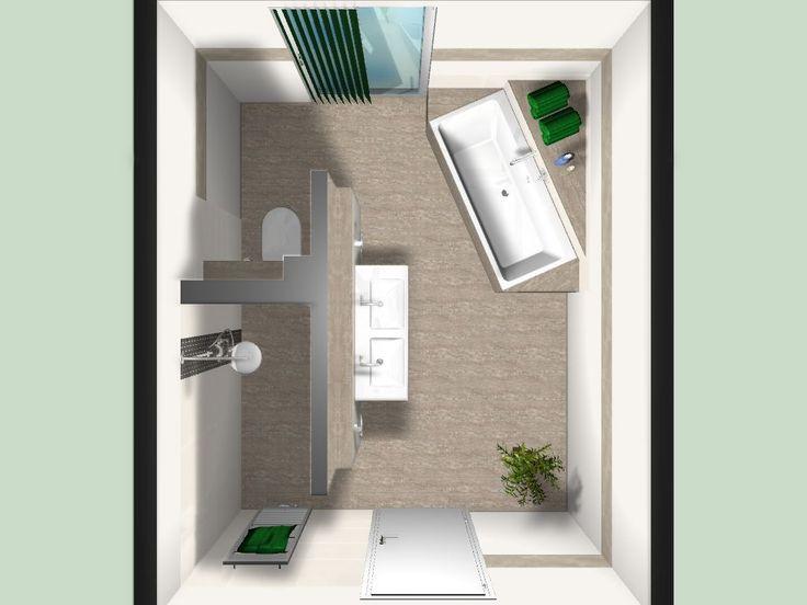 Санвузол Badezimmerplanung ohne Dachschrägen Visualisierung