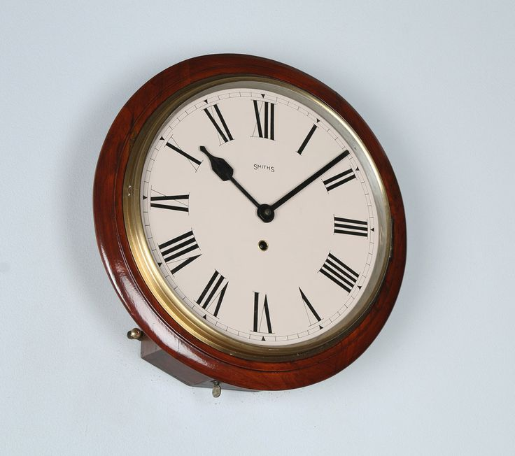 """Antique 15"""" Mahogany Smiths Railway Station / School Round Dial Wall Clock (Timepiece) by YolaGrayAntiques on Etsy"""