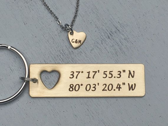 Sale Price Boyfriend Gift - Couples set-Custom Hand Stamped Coordinate Keychain with cut out heart necklace | Anniversary Gold Latitude & Lo