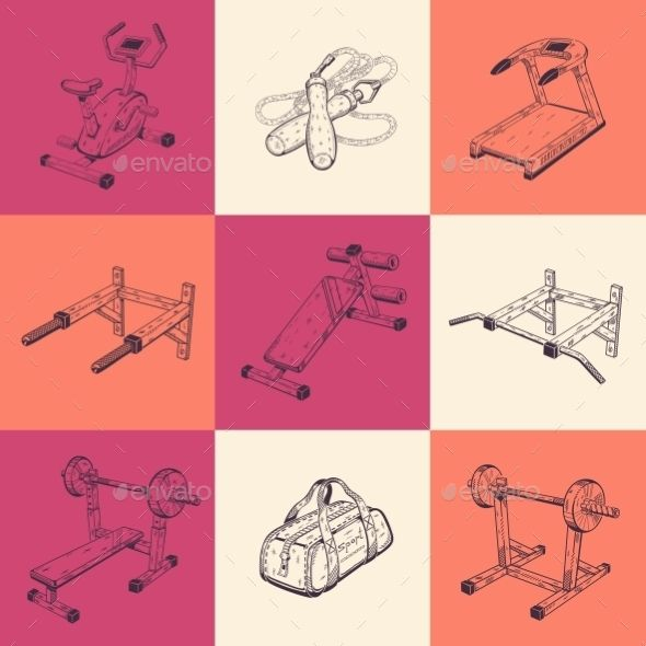 Set Of Nine Illustrations With Sports Equipment.
