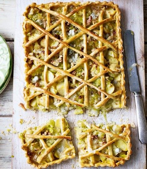 leek, potato, and gorgonzola tart - could probably make with my gf flour