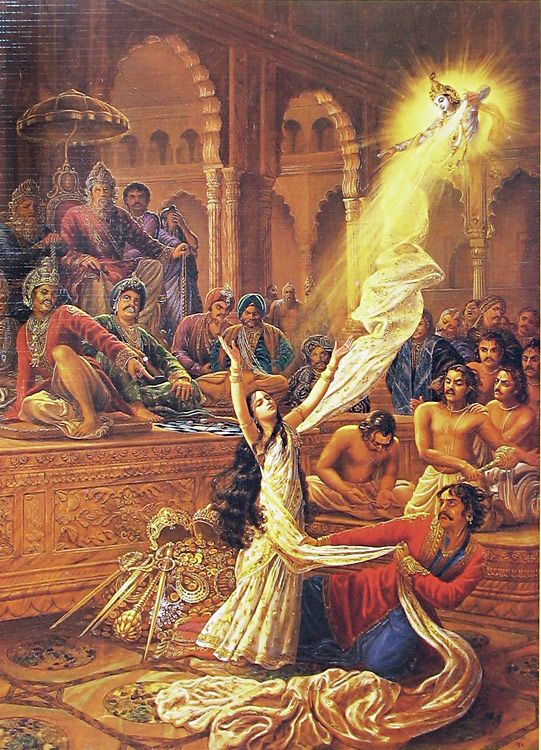 the vastrahan: draupadi is disrobed in court, and krishna protects her with an endless sari...