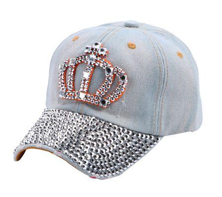 Crown Rhinestone Jeans Denim Baseball Adjustable Bling Hat