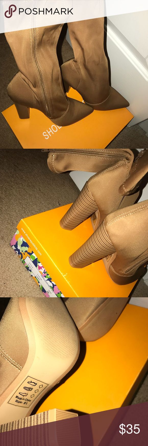 Tan Nude lycra zip up bootie Great shoe for all seasons. New in original box, never worn. Sz 8.5 Shoe Republic LA Shoes Ankle Boots & Booties