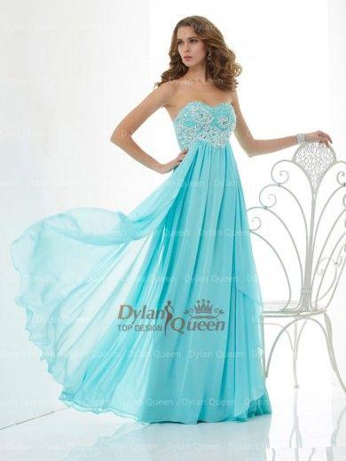 Nice A-Line/Princess Sweetheart Beading Sleeveless Floor-Length Chiffon Long Dresses