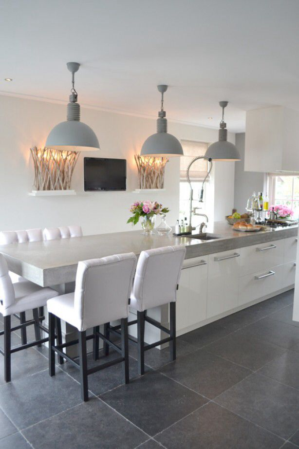 Keukeneiland Verlichting : Extended Kitchen Island with Seating
