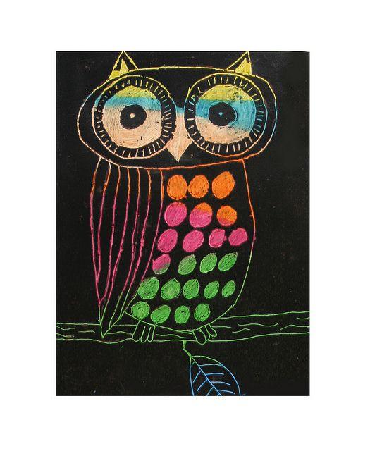 SCRATCH ART OWLS- GRADE 6 by heidabjorg, via Flickr