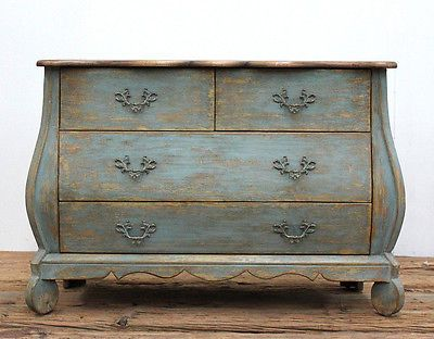 Farmhouse Reclaimed Pine 4 Drawer Distressed Blue Chest of Drawers Dresser.39''L