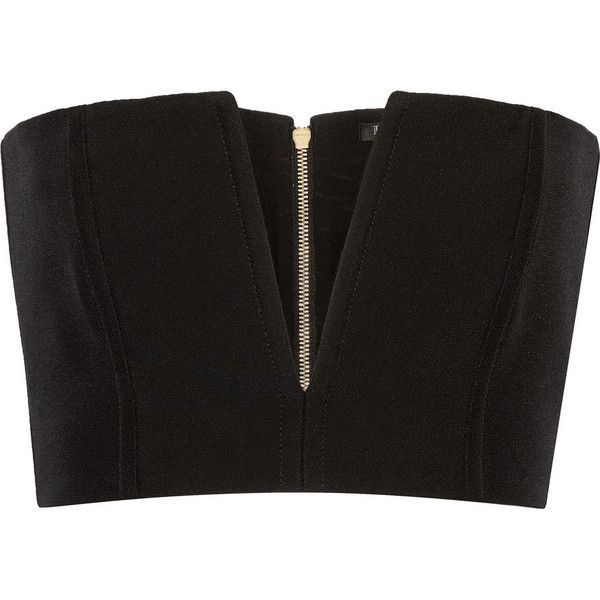 Balmain Cropped crepe top found on Polyvore featuring tops, balmain, crop top, black, zipper crop top, zip crop top, corset style tops and crepe top