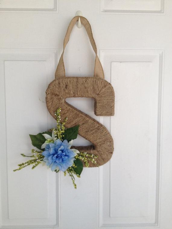 Initial Monogram Letter Wreath Door Hanger Home Decor
