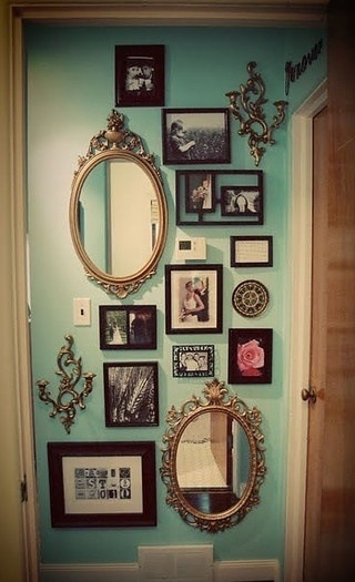 Mirrors, pictures, other details...love this. Different coloured frames maybe?