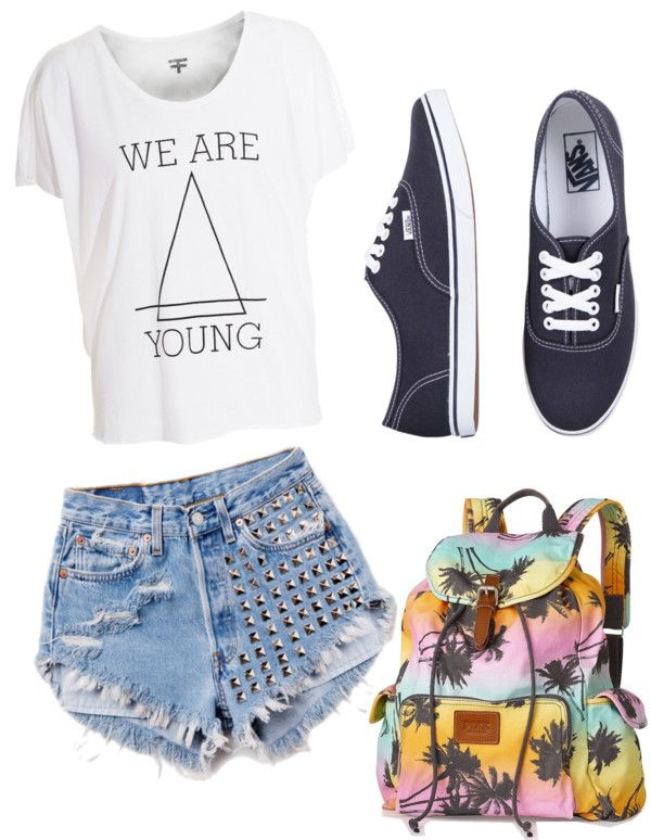 This outfit is so me ! I love the saying on the shirt I love the style of backpack I love to wear vans with my shorts and omg It is perf