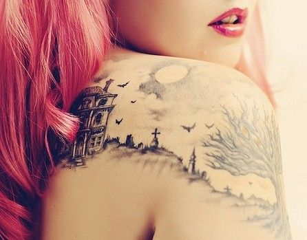 CemeteryBeautiful Tattoos, Tattoo Ideas, Haunted Houses, A Tattoo, Cool Tattoos, Shoulder Tattoos, Halloween Tattoo, Amazing Tattoo, Awesome Tattoos