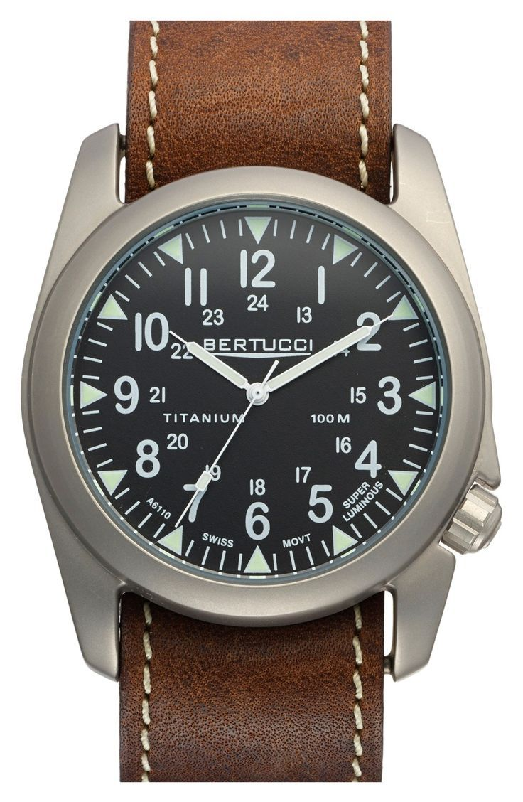 Bertucci Watches 'A-4T Vintage Yankee' Leather Strap Watch, 44mm available at #Nordstrom - mens watches uk, men black watches, watch batteries *ad