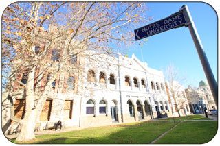 Notre Dame University in the Fremantle West End. The West End of Fremantle incorporates the Fremantle Prison, Esplanade park, Bathers Beach, Notra Dame University and the majority of Historic & Heritage buildings in Fremantle.