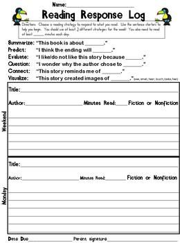 """Reading Response Log - For homework! LOVE THIS. Students must choose three different sentence starters throughout the week (which utilize Bloom's) and also record how many minutes they are reading every night & total for the week. Begins w a """"weekend"""" slot, which I might make into Extra Credit. Designed to be due Fridays."""