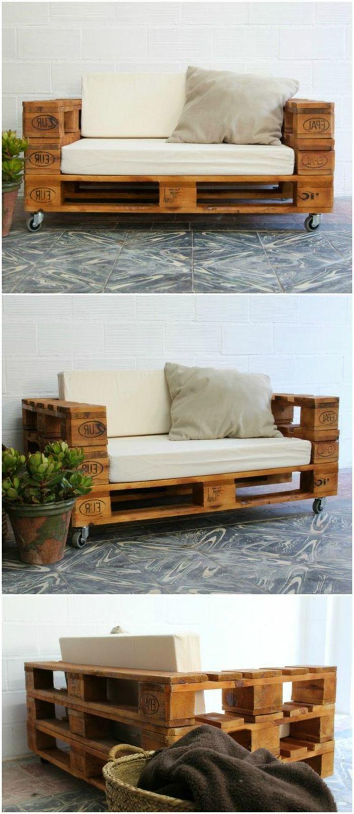 como hacer una mesa con palets silln de palets con ruedas tapizado en blanco