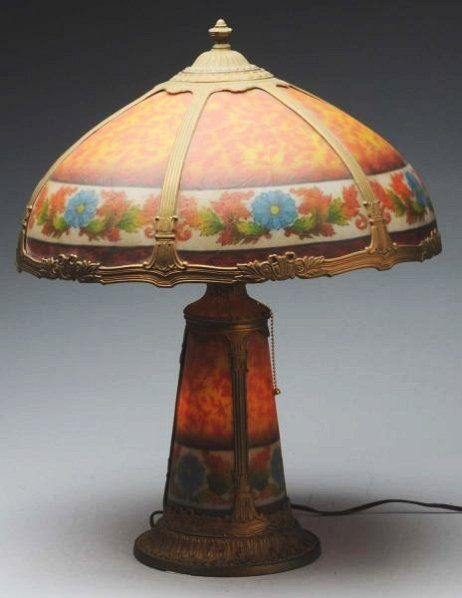 Illuminating lamps reverse painted floral lamp with for Painting light shades