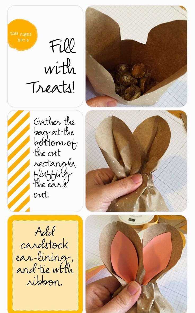 Easter Bunny Treat Bag - DIY party favor : Baby Shower, Easter brunch and Spring occasion table favor - full How To at  www.MidnightCrafting.com