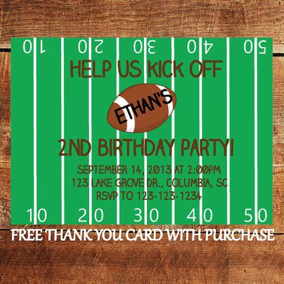 Football Birthday Invitation - Sports Theme Birthday Party Invitation with FREE Thank You Card