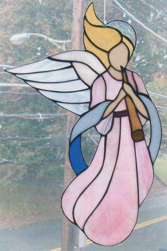 Stained Glass Angel with Flute on Etsy, $65.00