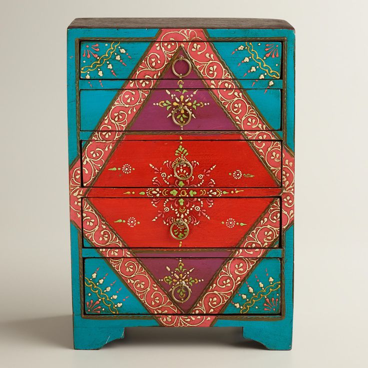 Turquoise Painted 5-Drawer Chest | World Market  REMINDS ME OF THE GOLD AND SILVER SHARPIES I JUST PURCHASED